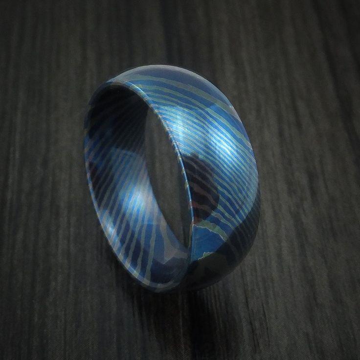 Titanium Mokume Men's Ring with Heat Treatment Custom Made Band