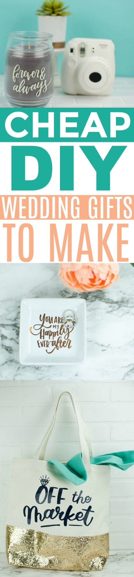 I love making gifts anyways and these cheap DIY wedding gifts are perfect for th...