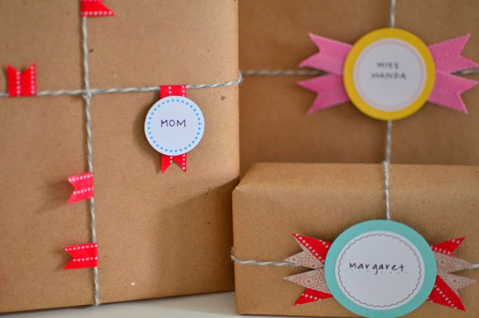 Cute gift wrap with washi tape