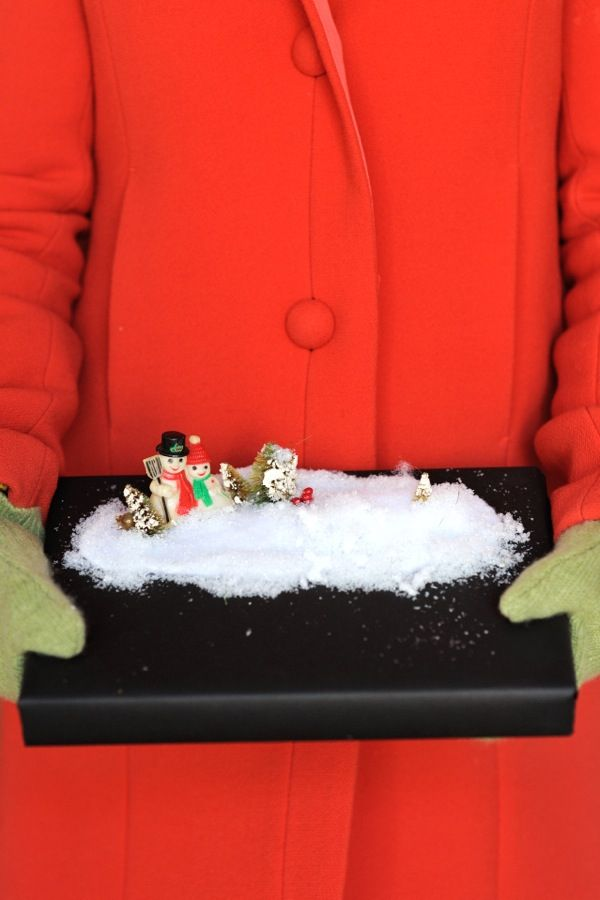 DIY Snowscape-Wrapped Gift - Wrap your gift with a fun snow scene on top of the ...