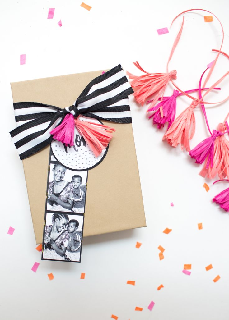 Mother's Day Gift Wrap with stripes & tassels