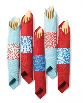 Playful patterned cuffs spiff up paper napkins and make it a breeze for guests t...