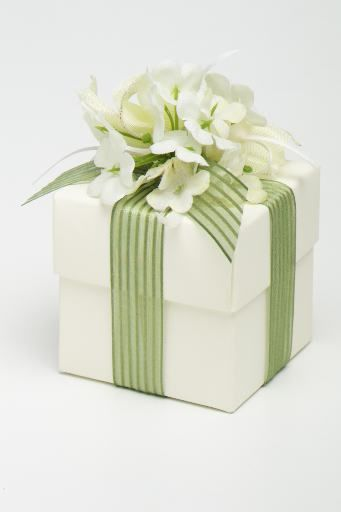 cute cream and green parcel with flowers