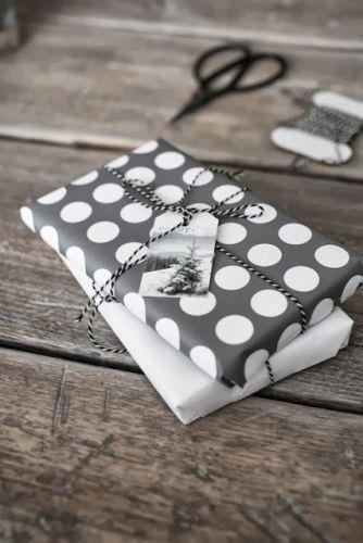 grey + white gift wrap