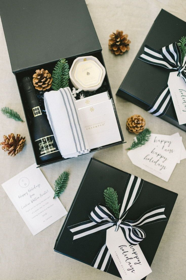 HOLIDAY GIFT BOX// Black and white custom client gift boxes designed for the hol...