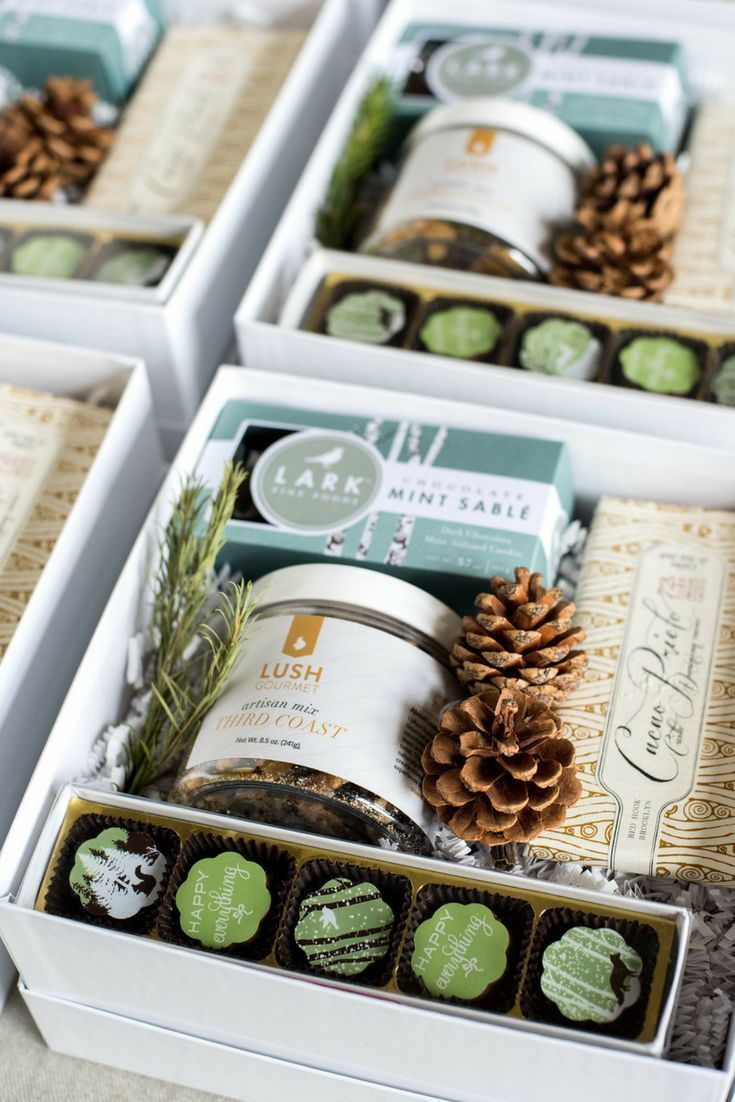 HOLIDAY GIFT BOX// White aqua and green corporate holiday gift boxes custom desi...