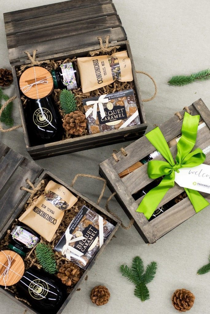 CORPORATE EVENT GIFT BOXES// Custom designed brown and neutral holiday crates fo...