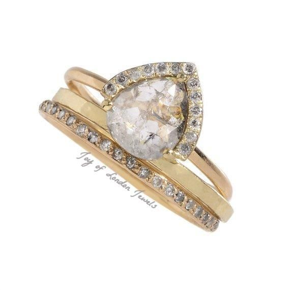 Birthday Gifts A 14k Yellow Gold Natural 1ct Pear Cut Light Grey