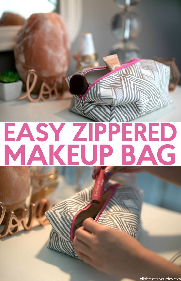 How to sew a zippered makeup bag-  It is a boxy pouch that is perfect for storin...