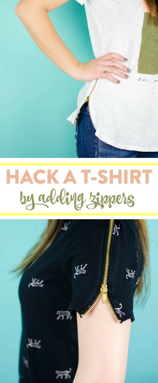 I decided to add some flair to t-shirts with some zippers. Learn How To Add Zipp...