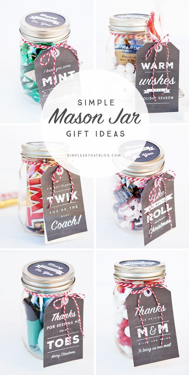 DIY Gifts Ideas : 6 Simple Mason Jar gifts with Printable Tags to ...