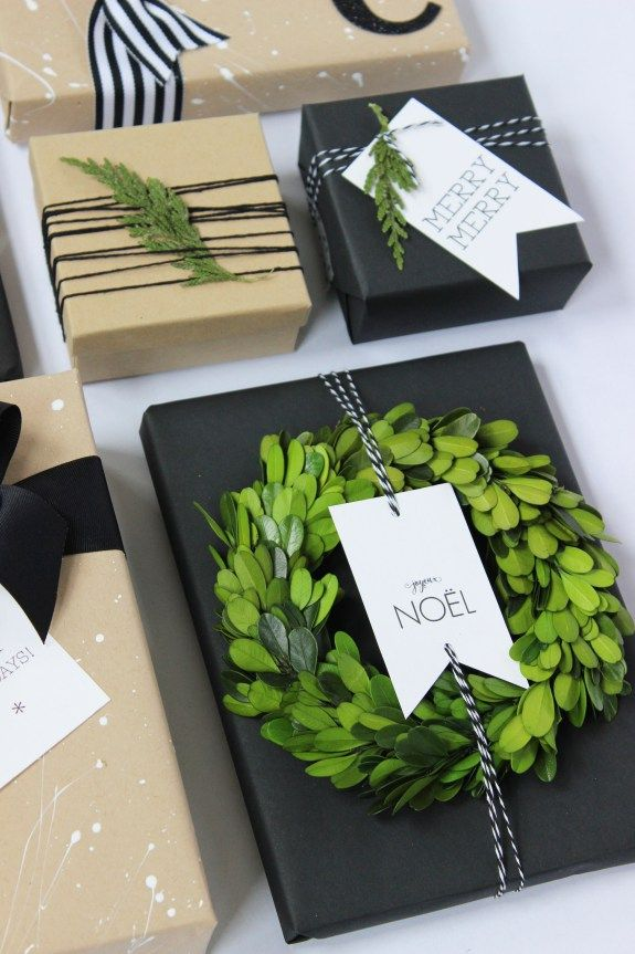 Kraft Paper with Black, White & Green. Holiday gift wrapping inspiration using k...