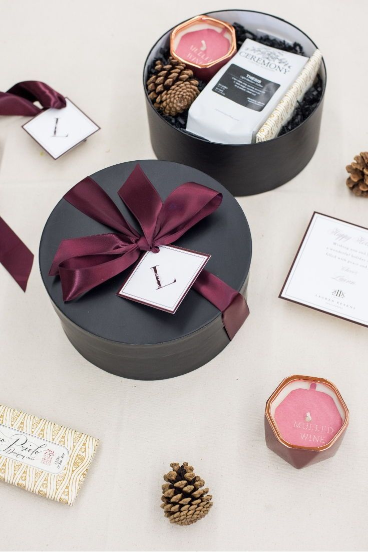 HOLIDAY GIFT BOX// Black and maroon holiday hatboxes custom designed for photogr...