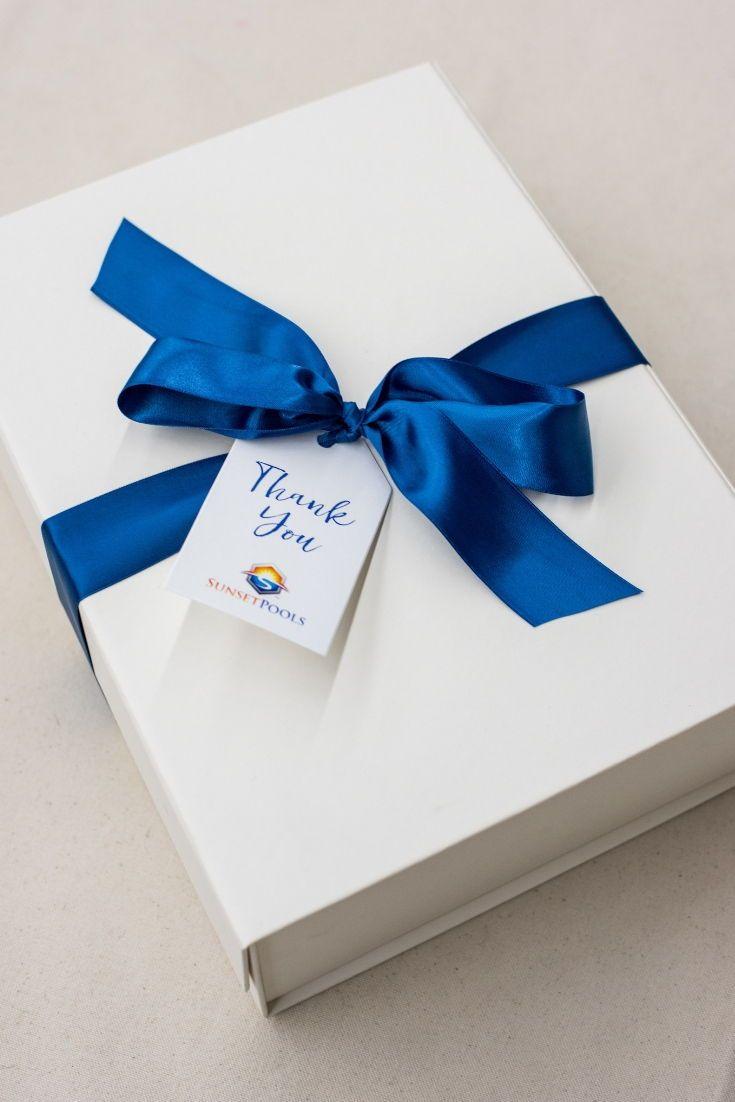 CLIENT GIFT BOX// Blue and white Texas inspired 'Thank You' gift boxes custom de...