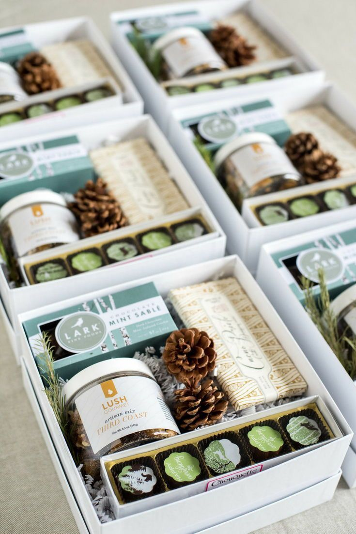 HOLIDAY CLIENT GIFTS// Custom blue and green client holiday gift boxes curated b...