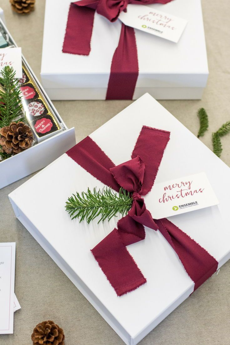 HOLIDAY GIFT BOX// White green and red classic corporate holiday gift boxes cust...