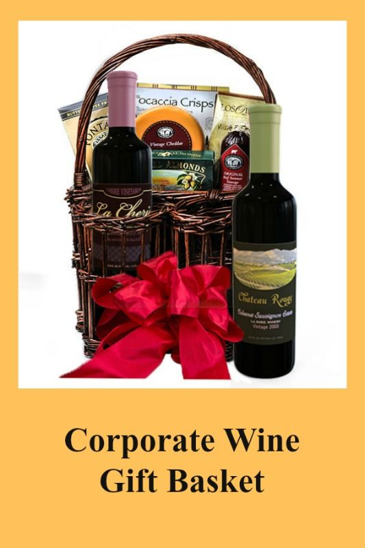 Corporate Wine Gift Basket - This beautiful basket makes the perfect holiday cor...