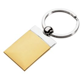 Gold Edge Rectangle Keychain | Corporate Gifts - Games and Novelties www.ignitio...