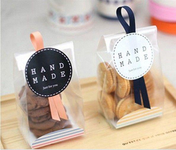 100 Cellophane gommage sac de biscuit / pour le cadeau Bakery Macaron emballage ...
