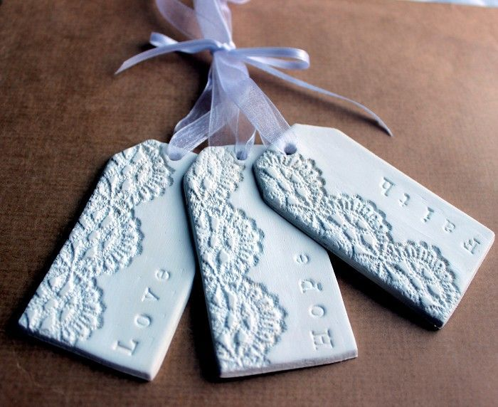 DIY Wrapping Gifts Inspiration     Clay Tags – Faith Hope Love – Lacey Embos...