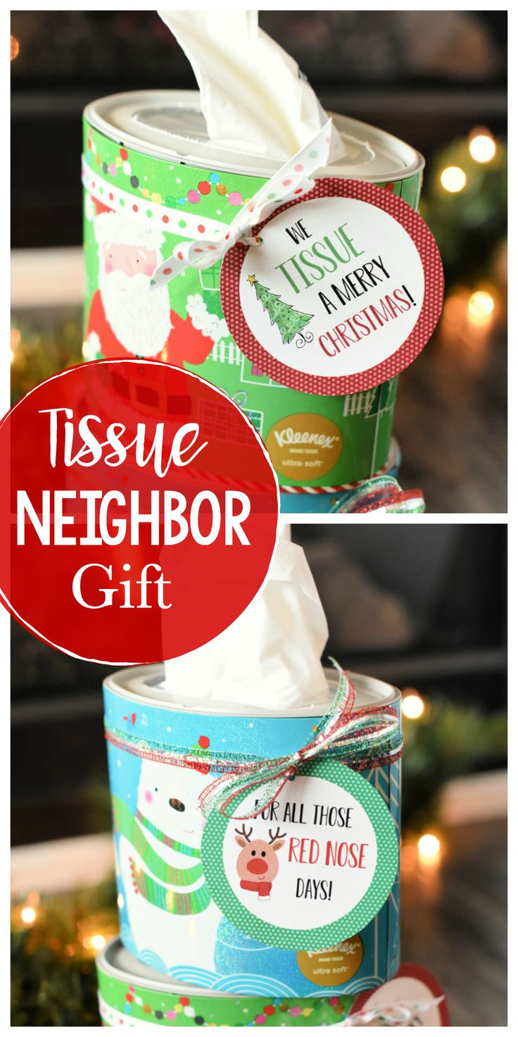 We Tissue a Merry Christmas! This cute neighbor gift idea is so easy to pull off...