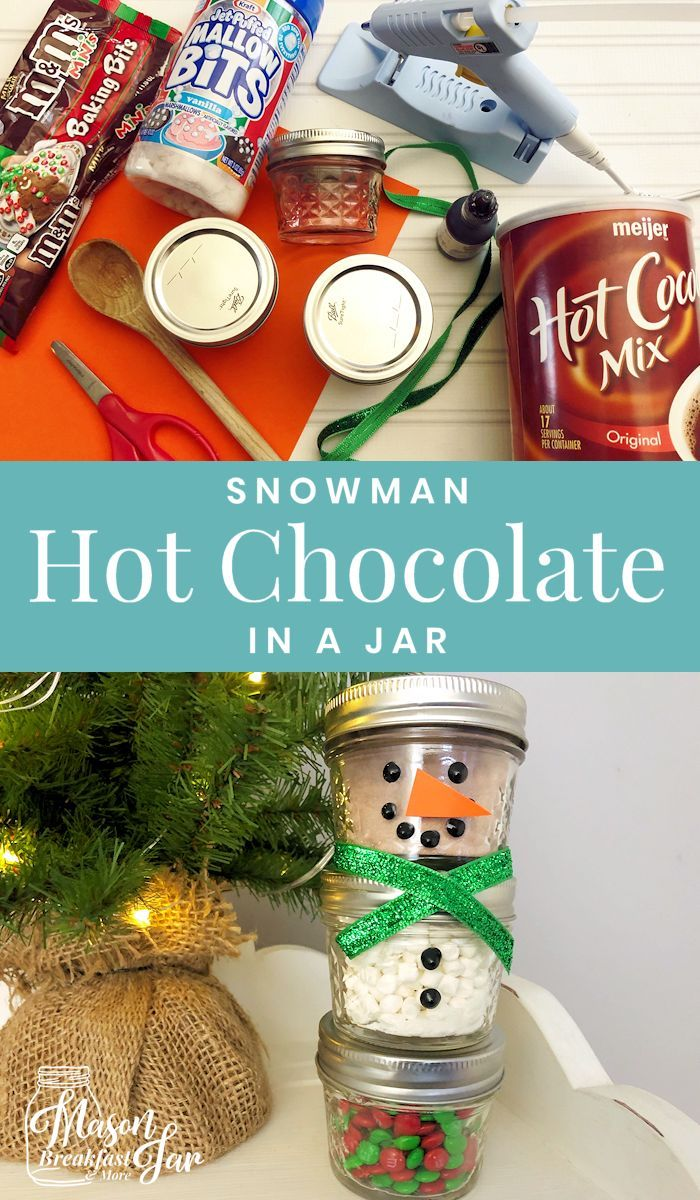 Who wouldn't love receiving this adorable DIY Snowman Mason Jar Hot Chocolate ...