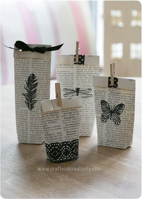 Old books used as gift bags.