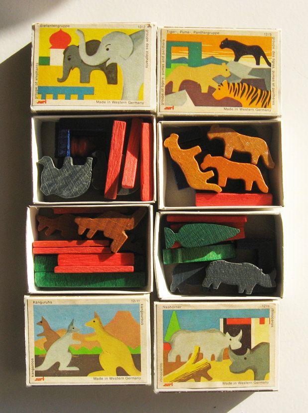 Vintage German Toys - Wooden Animal Miniatures.