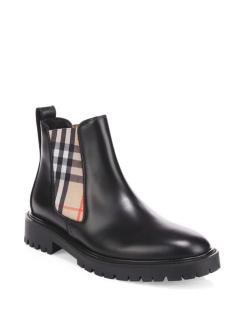 Burberry - Vintage Check Leather Chelsea Boots