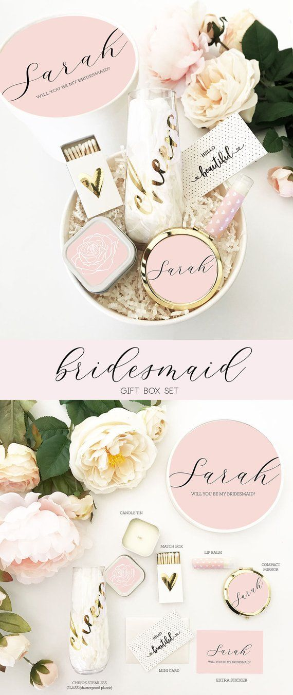 Pink Bridesmaid Box Blush Bridesmaid Proposal Will You Be My Bridesmaid Box Set ...