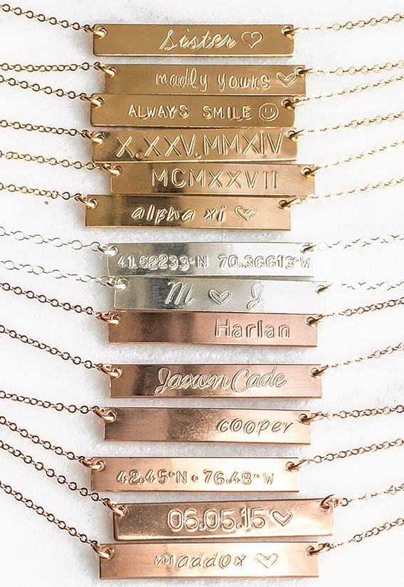 Pretty & personalized bar necklace
