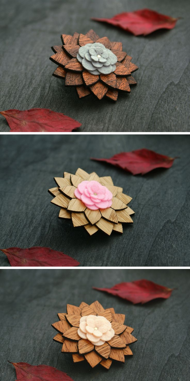 Lapel Pin Wooden flower wood boutonniere brooch hat pin Men Suit Accessories wed...