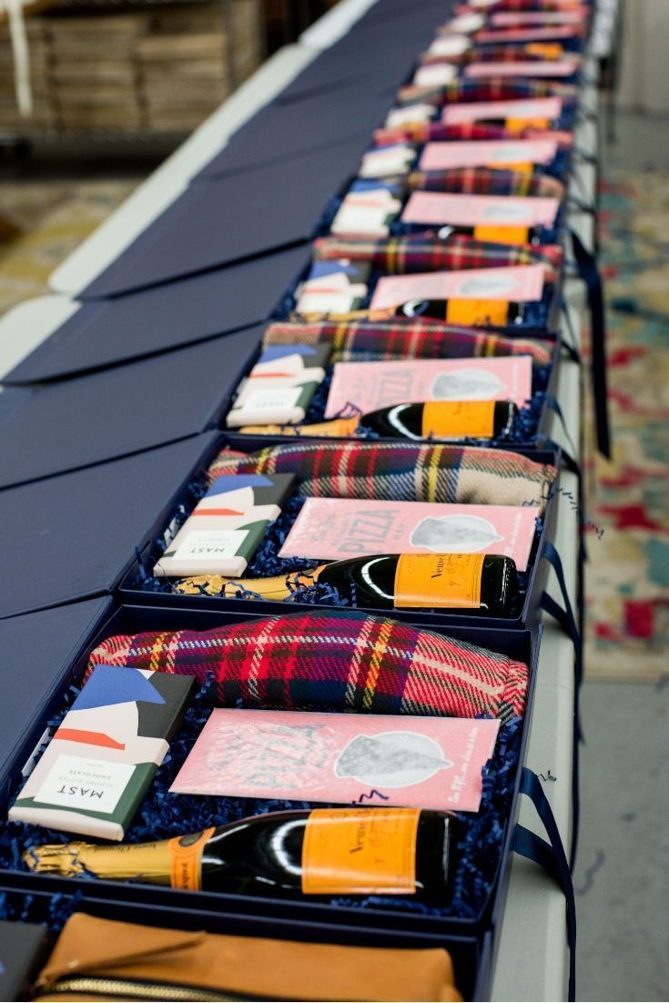 CORPORATE EVENT GIFT BOX// Navy and orange holiday inspired custom corporate eve...