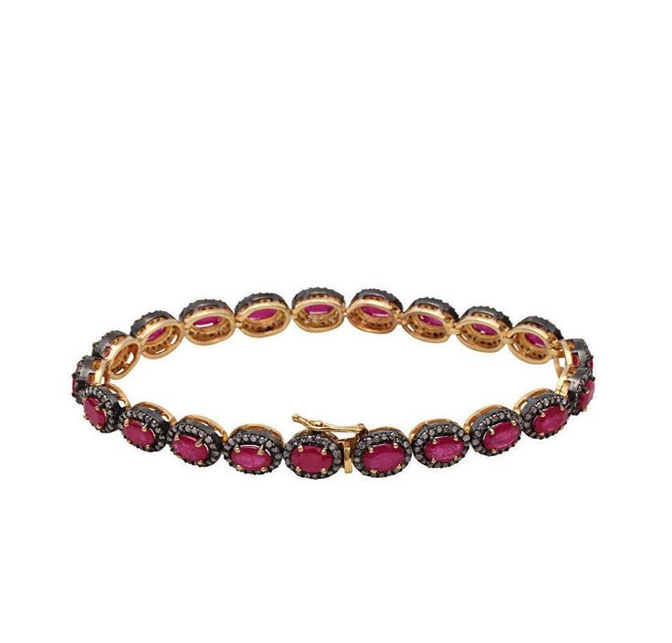 Handmade Victorian Natural 14K Yellow Gold 15TCW Red Rubies & Natural Mined Diam...