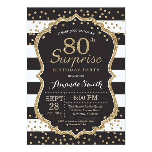 Birthday Gifts Ideas Surprise 80th Invitation Gold