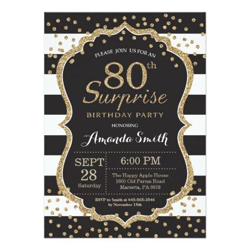 Birthday Gifts Ideas Surprise 80th Birthday Invitation Gold