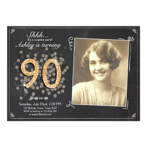 Surprise 90th birthday invite Chalkboard vintage
