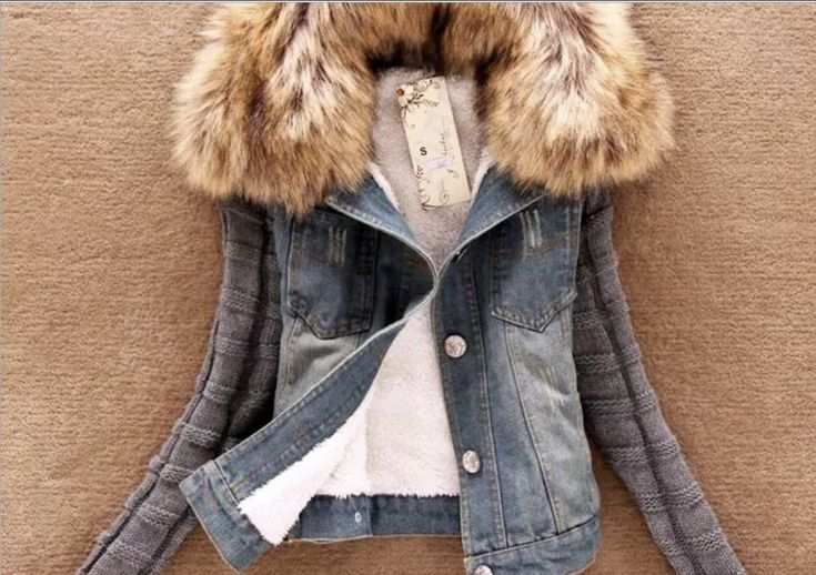 Ladies Blue Denim Fau Fur Sweater
