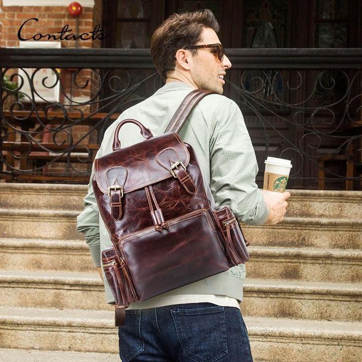 Men's Leather Laptop Bag Backpack