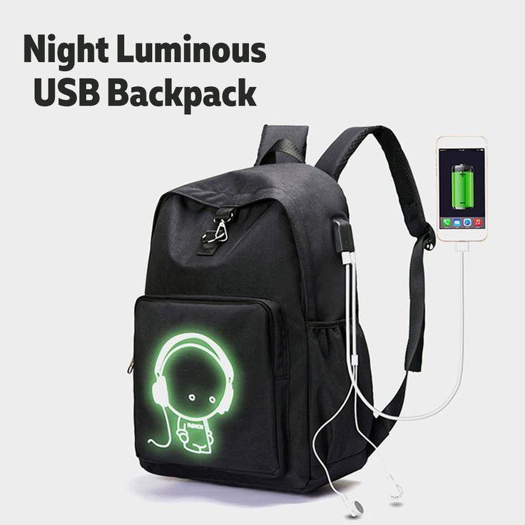 Night Luminous USB Charge Headphone Laptop Backpack