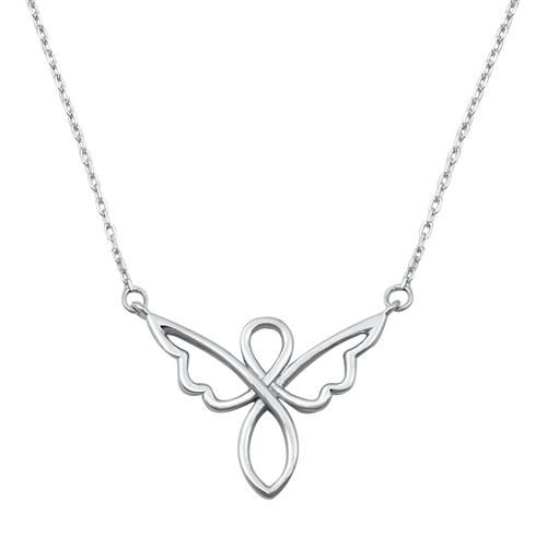 Sterling Silver Angel Infinity Pendant Necklace