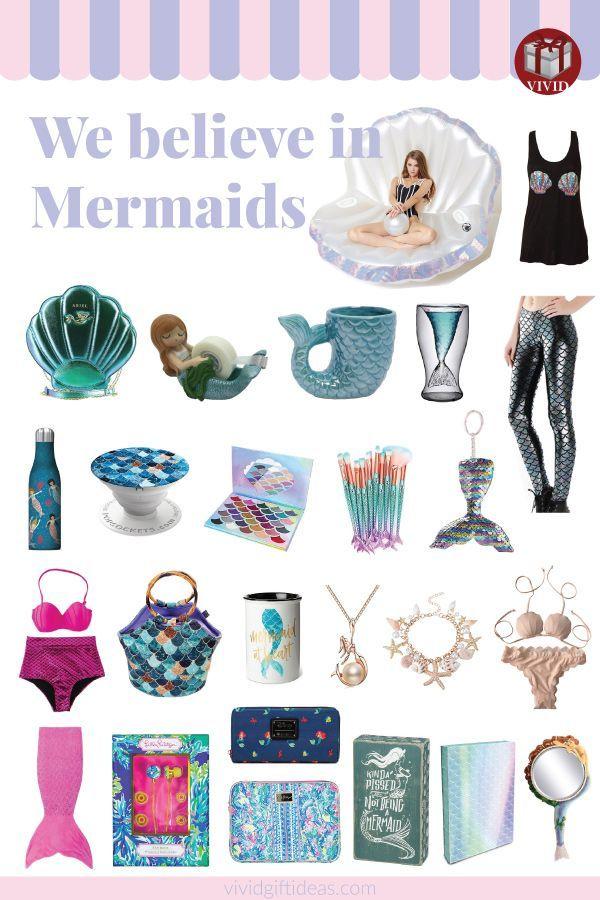 Cute gifts for mermaid lovers. This list includes mermaid bedroom decor, mermaid...