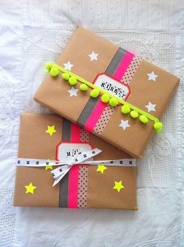 Brown paper, neon washi, stars, pom poms