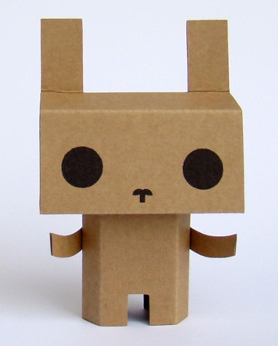 Félix the cardboard bunny by fragilefreaks on Etsy, $6.70
