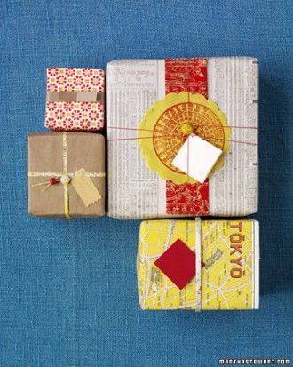 Tip: Save money (and paper) on gift wrap using old maps, foreign language newspa...
