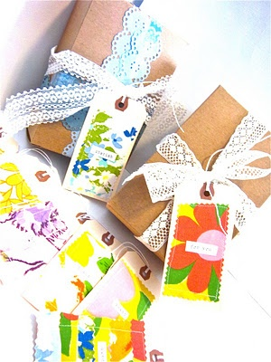 fabric gift tags fr vintage sheets