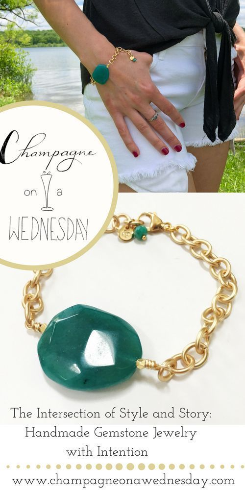 This chunky jade colored bracelet is eye catching and easy to wear. Add a pop of...