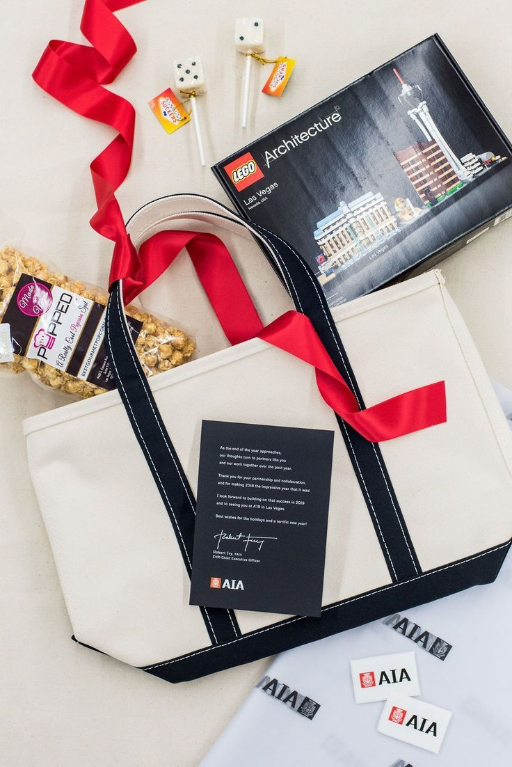 CORPORATE GIFTS// Black red and cream custom corporate swag tote bags for Las Ve...