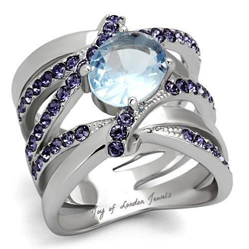 2CT Oval Cut Aquamarine and Purple Amethyst Ring