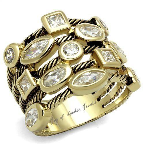 SALE Metro Stacked Gold & Platinum 4TCW Russian Lab Diamond Anniversary Ring